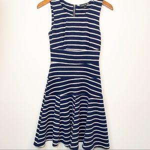 Navy and white striped drop waist sleeveless dress